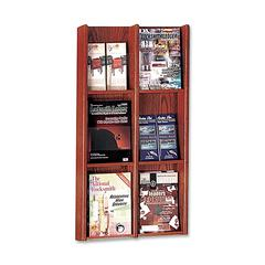 "Buddy Literature Rack - 6 Pocket(s) - 36"" Height x 20.8"" Width x 3"" Depth - Wall Mountable - Mahogany - Wood, Veneer - 1Each"