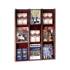 "Literature Rack - 9 Pocket(s) - 36"" Height x 30.8"" Width x 3"" Depth - Wall Mountable - Mahogany - Veneer, Wood - 1Each"