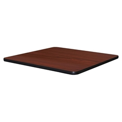 "Hospitality Breakroom Table Top - Square Top - 36"" Table Top Length x 36"" Table Top Width x 1.25"" Table Top Thickness - Assembly Required - Mahogany Top - Laminated Top - Vinyl, Particleboard"