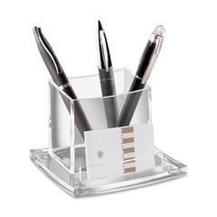 """CEP AcryLight Refined Pencil Cup Holder - 3.5"""" x 4.5"""" x 4"""" - Acrylic - 1 Each - Clear"""