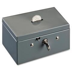 """MMF SteelMaster Slot Small Cash Box - Steel - Gray - 3.1"""" Height x 5.5"""" Width x 3.4"""" Depth"""