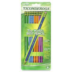 Ticonderoga Wood Pencil - #2 Lead Degree (Hardness) - Graphite Lead - Assorted Wood Barrel - 10 / Pack