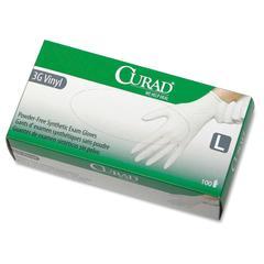Curad Powder-Free Latex-Free 3G Vinyl Exam Gloves - Large Size - Vinyl - Powder-free, Latex-free, Beaded Cuff, Non-sterile, Textured - 1000 / Case