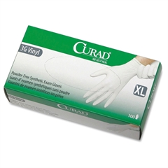 Curad Powder-Free Latex-Free 3G Vinyl Exam Gloves - X-Large Size - Vinyl - Powder-free, Latex-free, Beaded Cuff, Non-sterile, Textured - 900 / Case