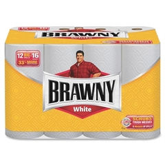 Brawny Industrial Big Roll Paper Towels - 2 Ply - 62 Sheets Per Roll - White - Paper - 12 / Pack