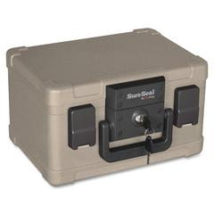 FireKing SureSeal .15cu ft. Media Fire File Chest - 1.12 gal - Key Lock, Latch Lock Closure - Taupe - For Envelope, Document, Flash Drive, Memory Stick, CD/DVD - 1 Each