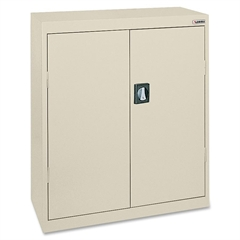 "Lorell Fortress Series Storage Cabinets - 18"" x 36"" x 42"" - 3 x Shelf(ves) - Recessed Locking Handle, Hinged Door, Durable - Putty - Powder Coated - Steel - Recycled"