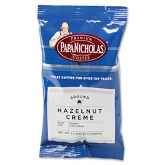PapaNicholas Coffee Hazelnut Creme-flavored Coffee Ground - Regular - Hazelnut Creme, Arabica - Light/Mild - 2.5 oz - 18 / Carton