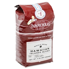 PapaNicholas Coffee Hawaiian Islands Blend Whole Bean Coffee - Regular - Hawaiian Blend, Arabica - Light/Mild - 32 oz - 1 Each