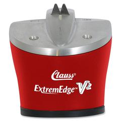 Clauss ExtremEdge V2 Knife & Shear Sharpener - Red - Ceramic, Tungsten Carbide - One-handed Operation - 1 Each