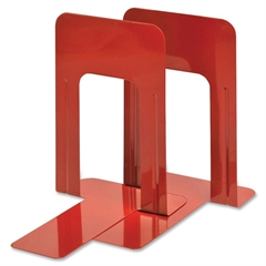 """MMF 9"""" Deluxe Bookends - 9"""" Height x 5.9"""" Width x 8.2"""" Depth - Recycled - Red - Steel - 2 / Pair"""