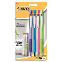 BIC Atlantis Mechanical Pencils - #2 Lead Degree (Hardness) - 0.7 mm Lead Diameter - Refillable - Assorted Barrel - 4 / Pack