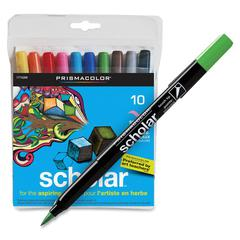 Prismacolor Scholar Brush Tip Markers - Brush Point Style - Assorted Water Based Ink - 10 / Pack