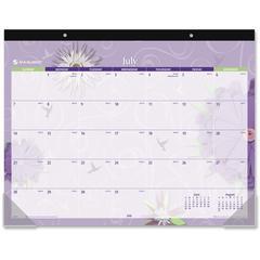 "At-A-Glance Paper Flowers Calendar Desk Pad - 22"" Width - 12 Sheets - Dark Blue"