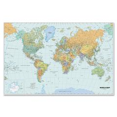 "Laminated World Map - World - 50"" Width x 33"" Height"