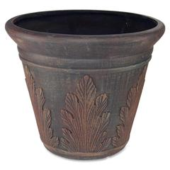 "Glolite Nu-dell Spring Hope Artificial Tree Container - 15.50"" Height x 13"" Diameter - Fiberglass - Dark Brown"