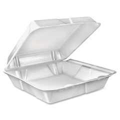 "Dart Large 1-Comprtmnt Carryout Foam Food Trays - 9"" Length 9"" Width Food Container - Foam - 200 Piece(s) / Carton"