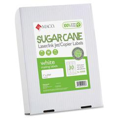 "MACO Laser / Ink Jet File / Copier Sugarcane Address Labels - Permanent Adhesive - 1"" Width x 2.63"" Length - 30 / Sheet - Rectangle - Inkjet, Laser - Bright White - 7500 / Box"