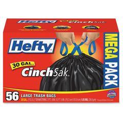 Hefty CinchSak Trash Bags - 30 gal - Black - 56/Box - 56 Per Carton - Garbage