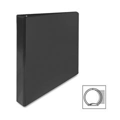 "Sparco Round Ring Presentation Binder - 1"" Binder Capacity - Letter - 8 1/2"" x 11"" Sheet Size - 175 Sheet Capacity - 3 x Round Ring Fastener(s) - 2 Internal Pocket(s) - Polypropylene - Black - 1 Each"