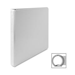 "Premium Round Ring View Binder - 1/2"" Binder Capacity - Letter - 8 1/2"" x 11"" Sheet Size - 3 x Round Ring Fastener(s) - 2 Internal Pocket(s) - Polypropylene - White - 1 Each"