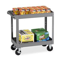 "Tennsco Two Shelf Service Cart - 2 Shelf - 4 Casters - Metal - 16"" Width x 30"" Depth x 32"" Height - Medium Gray"