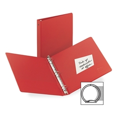 "Avery Economy Reference Ring Binder - 1/2"" Binder Capacity - Letter - 8 1/2"" x 11"" Sheet Size - 100 Sheet Capacity - 3 x Round Ring Fastener(s) - 2 Internal Pocket(s) - Vinyl - Red - Recycled - 1 Each"