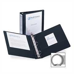 """Avery Economy View Round Ring Reference Binder - 2"""" Binder Capacity - Letter - 8 1/2"""" x 11"""" Sheet Size - 375 Sheet Capacity - 3 x Round Ring Fastener(s) - 2 Internal Pocket(s) - Black - Recycled - 1 E"""