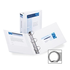 "Avery Economy View Round Ring Reference Binder - 3"" Binder Capacity - Letter - 8 1/2"" x 11"" Sheet Size - 460 Sheet Capacity - 3 x Round Ring Fastener(s) - 2 Internal Pocket(s) - White - Recycled - 1 E"