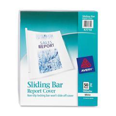 "Avery Non-Slip Sliding Bar Report Cover - 1/8"" Folder Capacity - 20 Sheet Capacity - Poly - White, Clear - 50 / Box"
