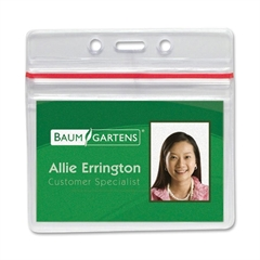 Baumgartens Sealable ID Badge Holder - Horizontal - Vinyl - 50 / Pack - Clear