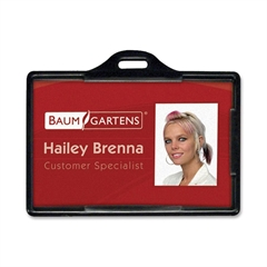 Baumgartens Horizontal ID Card Holder - Plastic - 25 / Pack - Black