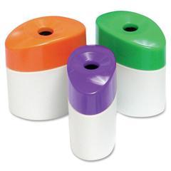 "Baumgartens Single Hole Oval Pencil Sharpeners - Handheld - 1 Hole(s) - 2.4"" Height - Plastic - Assorted"