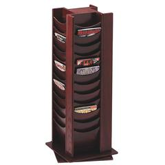 "Buddy 48-Pocket Wood Rotating Literature Racks - 48 Pocket(s) - 49.5"" Height x 16.8"" Width x 16.8"" Depth - Floor - Mahogany - Wood - 1Each"