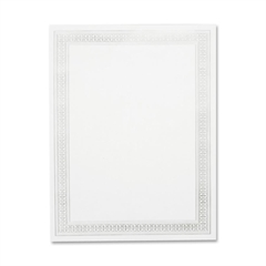 "Geographics Silver Flourish Foil Certificate - 8.50"" x 11"" - Inkjet, Laser Compatible - Silver"