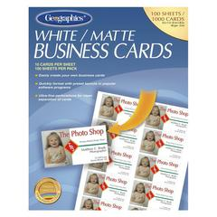 "Business Card - 3.50"" x 2"" - 65 lb Basis Weight - Recycled - 30% Recycled Content - Matte - 100 / Pack - White"