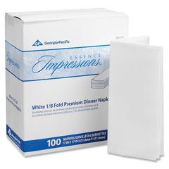 "Georgia-Pacific Essence Impression Dinner Napkin - 1 Ply - 17"" x 17"" - White - For Dinner - 100 Sheets Per Pack - 400 / Carton"