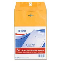 "Mead Heavyweight Brown Kraft Clasp Envelopes - Clasp - #55 - 6"" Width x 9"" Length - Kraft - 5 / Pack - Brown"