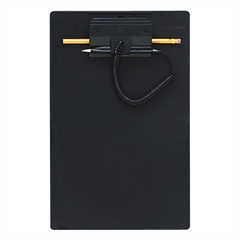 "MMF Clipboard with Pen - 8.50"" x 11"" - Low-profile - Plastic - Black"