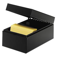 """MMF Card File Box - Internal Dimensions: 5"""" Width x 3"""" Height - External Dimensions: 5.5"""" Width x 8.5"""" Depth x 4"""" Height - Hinged Closure - Steel - Black - For Card - Recycled - 1 Each"""