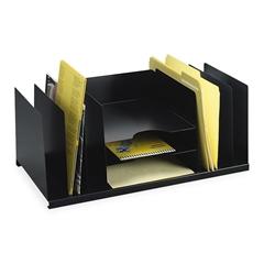 "MMF Combination Desk Organizer - 9 Compartment(s) - 8.8"" Height x 21.5"" Width x 11"" Depth - Desktop - Recycled - Black - Steel - 1Each"
