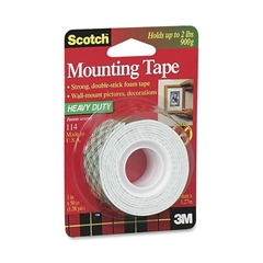 "Scotch Permanent Mounting Tape - 1"" Width x 4.17 ft Length - 1"" Core - Foam - Double-sided, Permanent Mounting - 1 Roll - White"