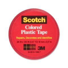 "Scotch Colored Plastic Tape - 0.75"" Width x 10.42 ft Length - 1"" Core - Vinyl - Flexible, Stretchable - 1 / Pack - Red"