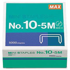 "MAX HD-10DF Mini Staple - 100 Per Strip - Heavy Duty - 3/16"" Leg - 5/16"" Crown - Holds 20 Sheet(s) - for Paper - Silver - 5000 / Box"