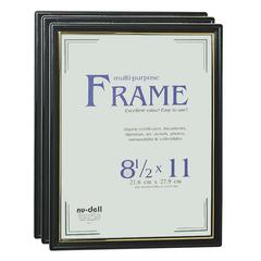"Nu-Dell Easy Slide-In Document Frame - Holds 8.50"" x 11"" Insert - Horizontal, Vertical - Plastic - Black"