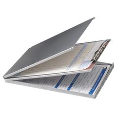 "OIC Aluminum Storage Clipboard - Storage for 30 x Sheet - Top Opening - 8.50"" x 12"" - Aluminum - Silver"