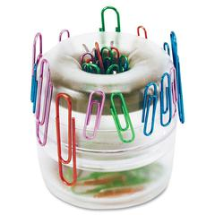 OIC Officemate Euro Style Designer Paper Clip Holder - 1 Each - Clear