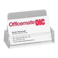 "OIC Broad Base Business Card Holder - 1.9"" x 3.9"" x 2.4"" - Plastic - 1 Each - Clear"