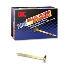 "OIC Round Head Fasteners - 1.50"" Shank - 100 / Box - Brass"
