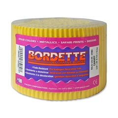 """Pacon Bordette Scalloped Decorative Borders - Rectangle with Scalloped Trim - Pin-up - Fadeless - 2.25"""" Width x 600"""" Length - Canary - Paper - 1 / Roll"""